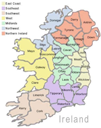 Map Of Republic Of Ireland Showing Counties.A Tour Of Ireland Not Forgotten Grannymar
