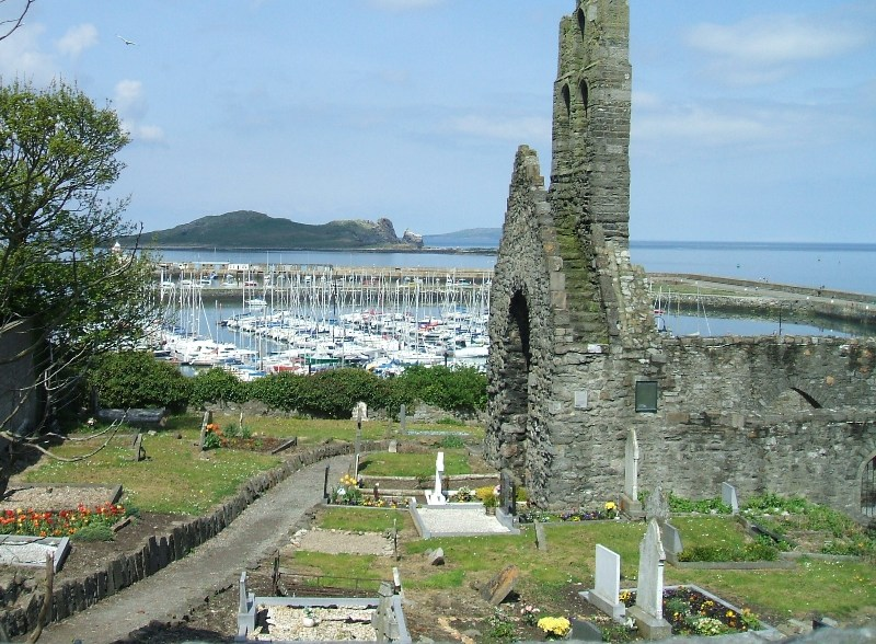 Looking down on Howth from the Churchyard
